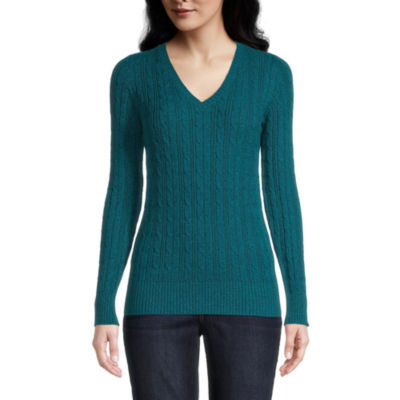 St. John's Bay Cable Womens V Neck Long Sleeve Pullover Sweater