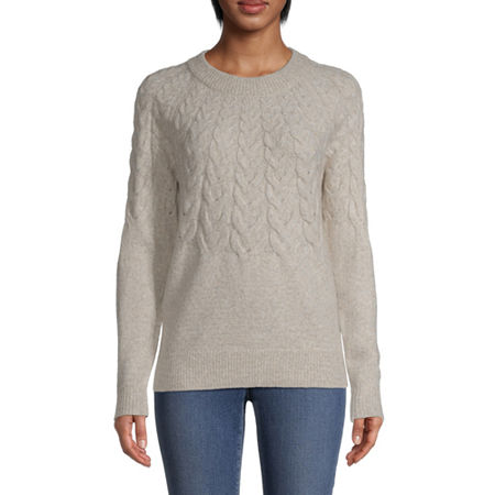 St. John's Bay Womens Crew Neck Long Sleeve Pullover Sweater, Xx-large , Beige