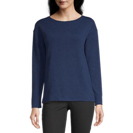 Liz Claiborne Womens Crew Neck Long Sleeve Sweatshirt, X-large , Blue