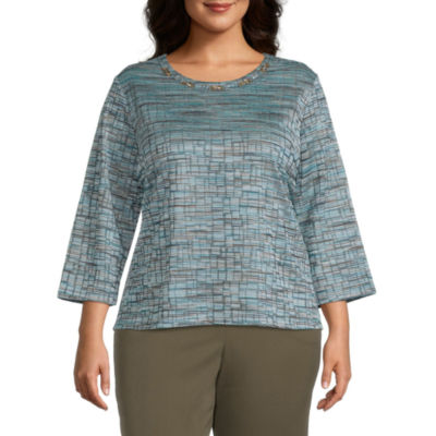 Alfred Dunner Plus Colorado Springs-Womens Crew Neck 3/4 Sleeve T-Shirt