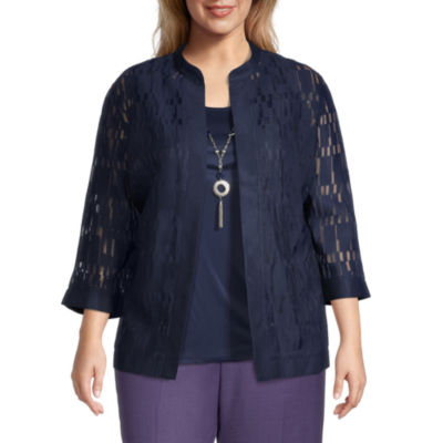 Alfred Dunner-Plus Wisteria Lane Womens 3/4 Sleeve Knit Blouse