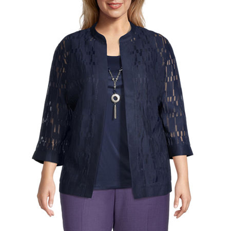 Alfred Dunner-Plus Wisteria Lane Womens 3/4 Sleeve Knit Blouse, 3x , Blue