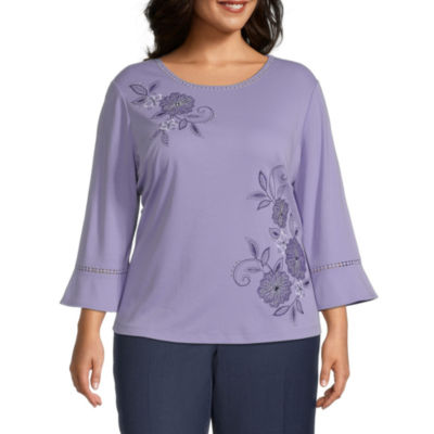 Alfred Dunner Plus-Womens Round Neck 3/4 Sleeve T-Shirt