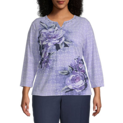 Alfred Dunner-Plus Wisteria Lane Womens Split Crew Neck 3/4 Sleeve Knit Blouse