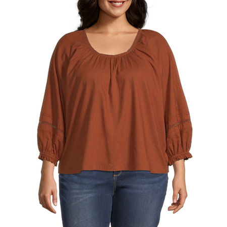 a.n.a-Plus Womens Scoop Neck 3/4 Sleeve Blouse, 3x , Brown