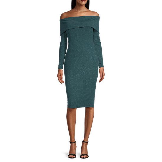 Premier Amour Off The Shoulder Glitter Sheath Dress
