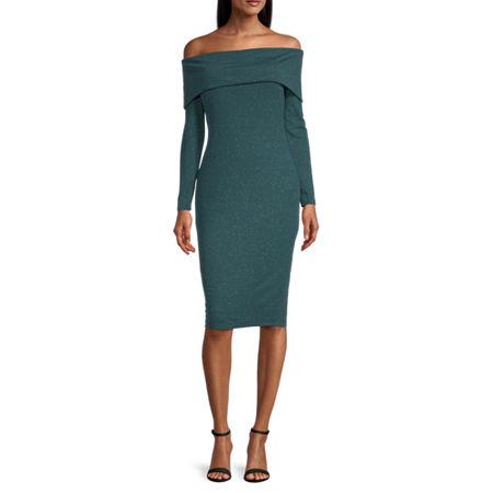 Premier Amour Off The Shoulder Glitter Sheath Dress, 16 , Green
