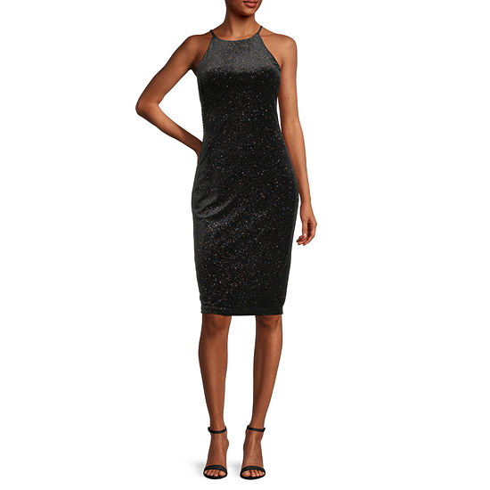 Premier Amour Sleeveless Glitter Sheath Dress
