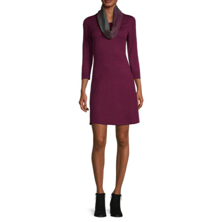 by&by-Juniors 3/4 Sleeve Sweater Dress, Small , Red