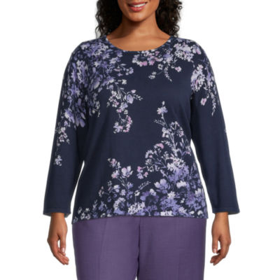 Alfred Dunner Womens Round Neck Long Sleeve Floral Sweaters-Plus