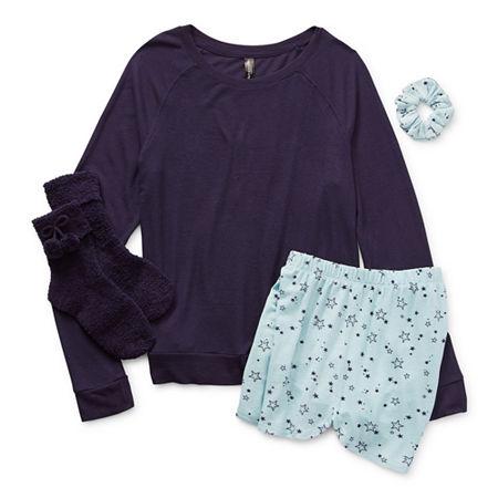 Ambrielle Womens Shorts Pajama Set 4-pc. Long Sleeve, X-small , Blue