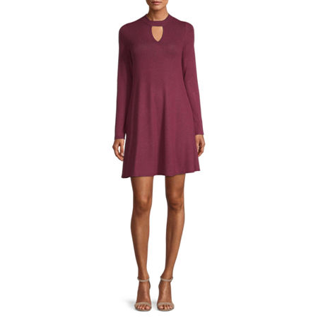 by&by-Juniors Long Sleeve Sweater Dress, Large , Red