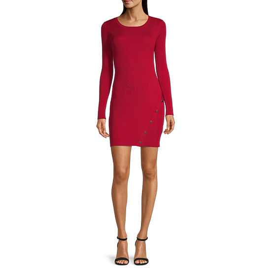 by&by-Juniors Embellished Long Sleeve Sweater Dress