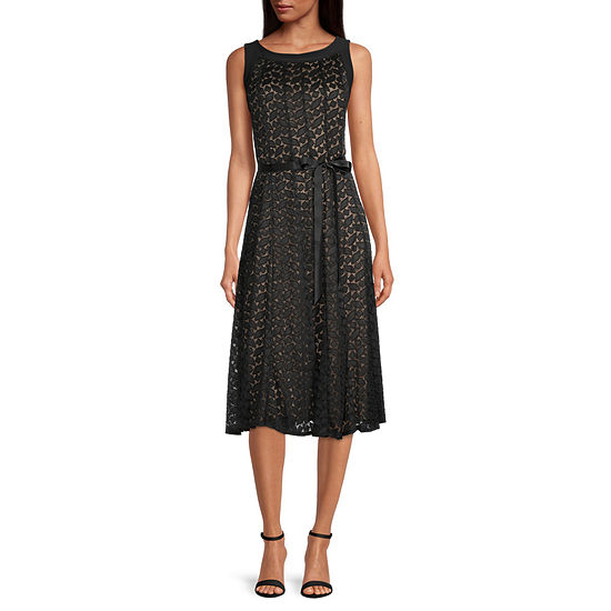 Perceptions Sleeveless Diamond Lace Midi Fit & Flare Dress