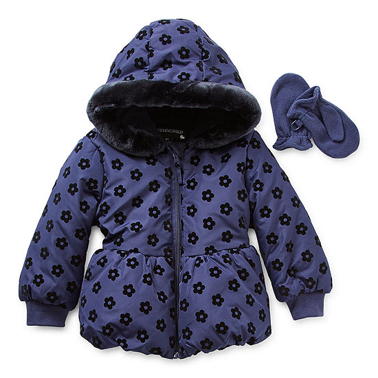 S Rothschild Toddler Girls Hooded Faux Fur Trim Heavyweight Puffer Jacket