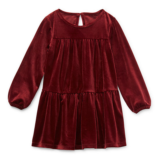 Okie Dokie Toddler Girls Long Sleeve Shift Dress