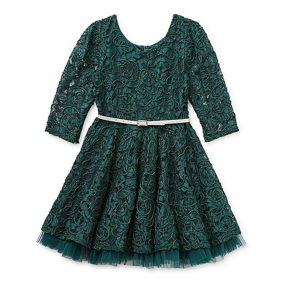 Knit Works Little & Big Girls Belted 3/4 Sleeve A-Line Dress