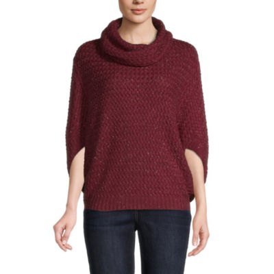 St. John's Bay Womens Cowl Neck 3/4 Sleeve Poncho
