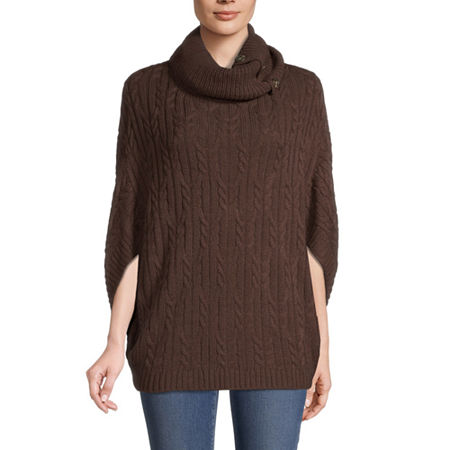 St. John's Bay Womens Cowl Neck 3/4 Sleeve Poncho, Medium , Brown