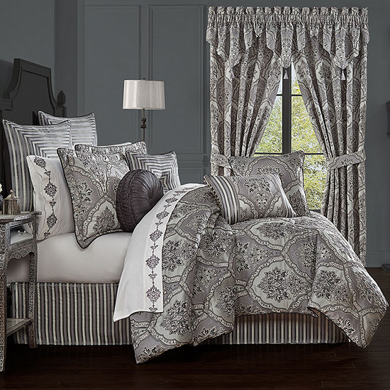 Five Queens Court Silverstone 4-pc. Damask + Scroll Heavyweight Comforter Set