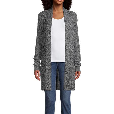 St. John's Bay Womens Long Sleeve Open Front Cardigan, Small , Gray