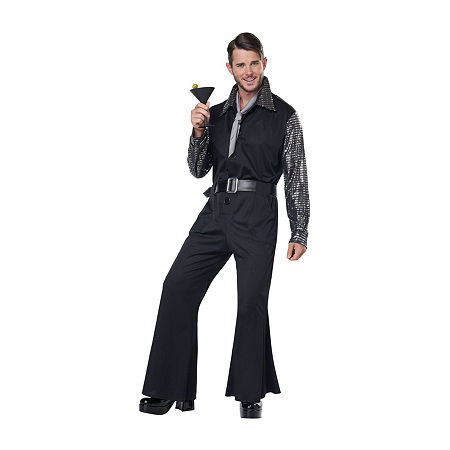 70s Costumes: Disco Costumes, Hippie Outfits Mens Flashy 70S Style Jumpsuit Mens Costume Large  Black $59.99 AT vintagedancer.com