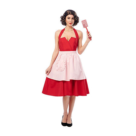 1950s Costumes- Poodle Skirts, Grease, Monroe, Pin Up, I Love Lucy Womens Magnificient Mrs Costume Small  Red $39.99 AT vintagedancer.com