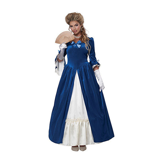 Womens Martha Washington Colonial Blue Dress Costume