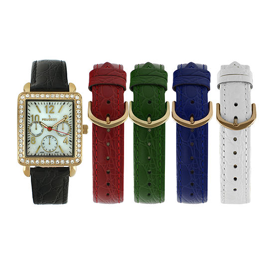 Peugeot Womens Crystal Accent Interchangeable Leather Strap Watch Set 677g