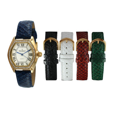Peugeot® Womens Crystal-Accent Interchangeable Leather Strap Watch Set 679G