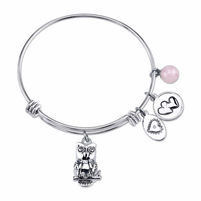 Footnotes Womens Pink Silver Over Brass Bangle Bracelet