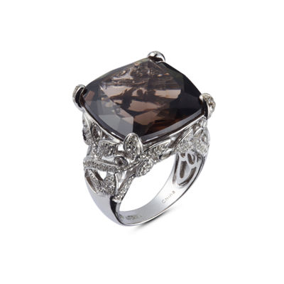 Womens Genuine Brown Quartz Sterling Silver Cocktail Ring