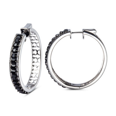 Genuine Black Spinel Sterling Silver Hoop Earrings