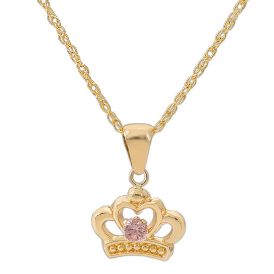 Girls Pink Cubic Zirconia 14K Gold Disney Princess Pendant Necklace