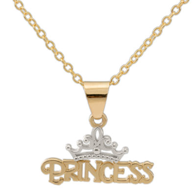 Disney® 14K Yellow Gold Princess Tiara Pendant Necklace