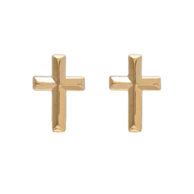 14K Yellow Gold Cross Stud Earrings