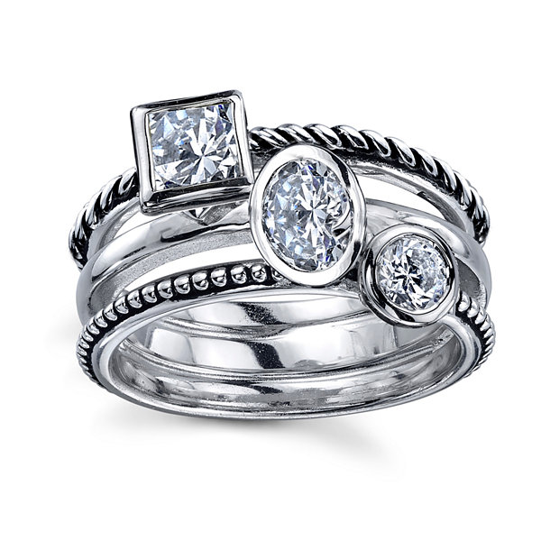 Sterling Silver Cubic Zirconia Triple Stone Ring