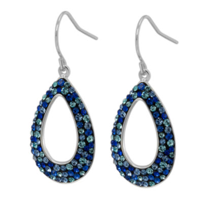 Blue Crystal Sterling Silver Drop Earrings