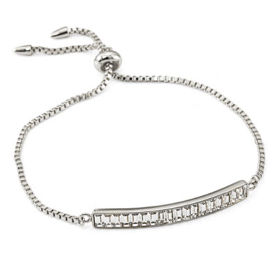 White Crystal Sterling Silver Bolo Bracelet