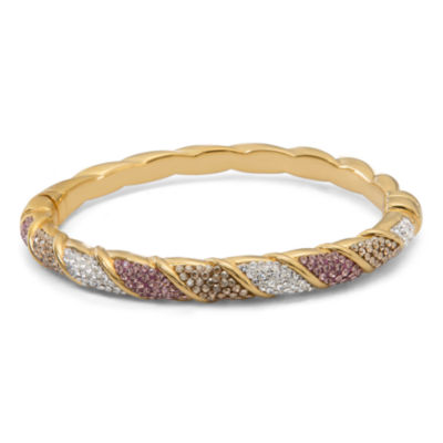 Multi Color Crystal Sterling Silver Bangle Bracelet