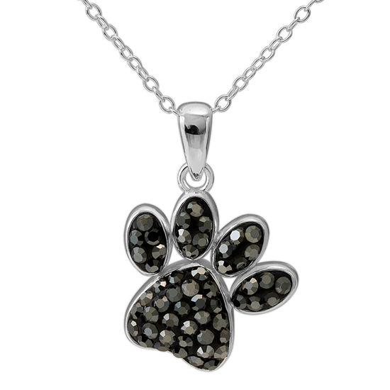 Sterling Silver Crystal Paw Print Pendant Necklace