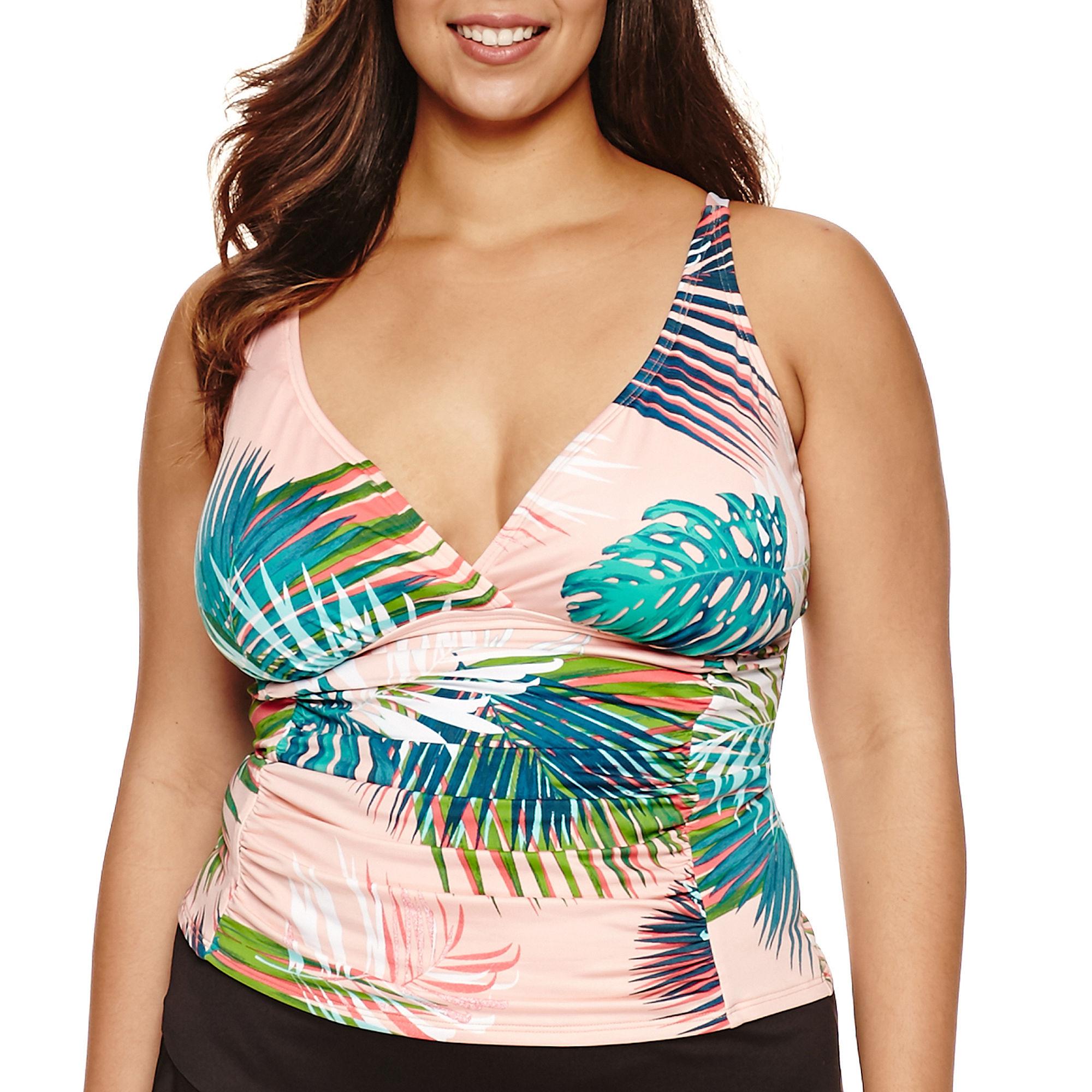 Liz Claiborne Tankini Swimsuit Top-Plus plus size,  plus size fashion plus size appare