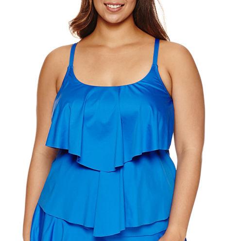 Liz Claiborne Tankini Swimsuit Top-Plus
