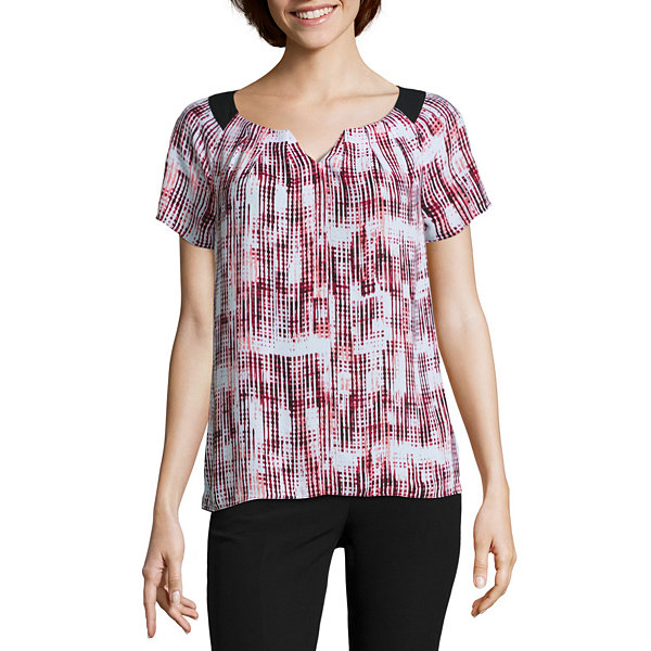 Worthington® Cap-Sleeve Pleated Blouse