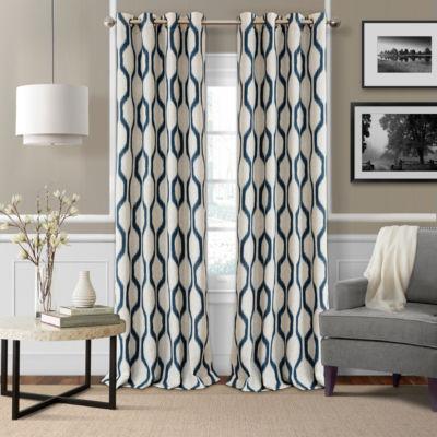 Renzo Geometric Ikat Blackout Grommet Top Curtain Panel