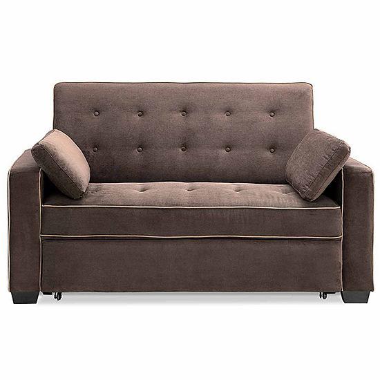 Serta Augustine Microfiber Track Arm Queen Sleeper Sofa