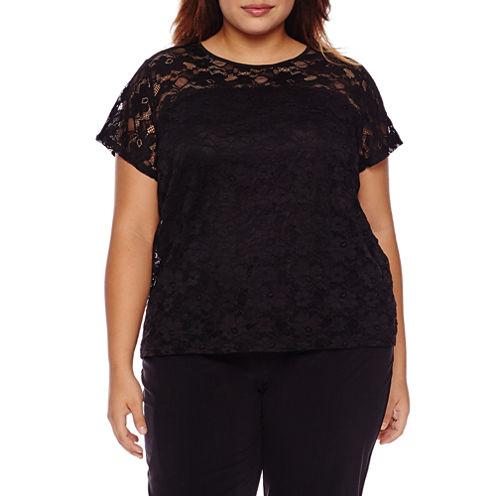 Boutique + Short Sleeve Crew Neck T-Shirt-Womens Plus