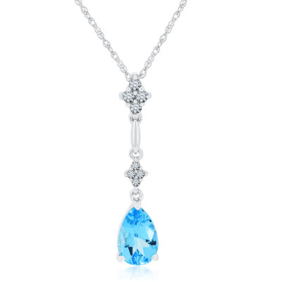 Womens Genuine Blue Topaz & Lab-Created White Sapphire Sterling Silver Pendant Necklace
