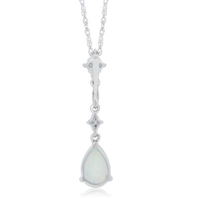 Womens Sterling Silver Lab-Created Opal & Lab-Created White Sapphire Pendant Necklace