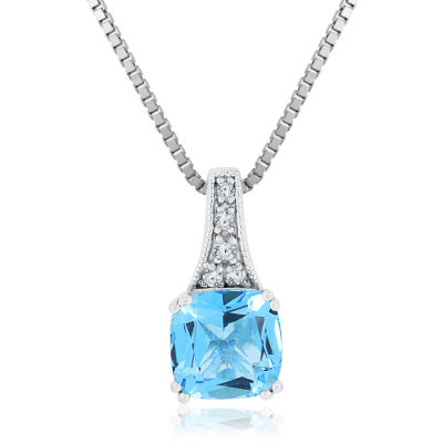 Womens Genuine Blue Topaz& Lab-Created White Sapphire Sterling Silver Pendant Necklace